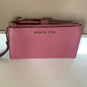 Rose pink leather Michael Kors wallet/ wristlet